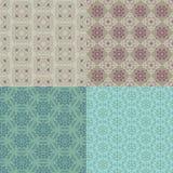 Un insieme di quattro reticoli senza giunte Picchiettio kazako, asiatico, floreale, floreale Fotografia Stock
