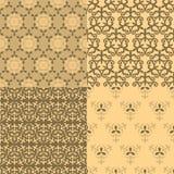 Un insieme di quattro reticoli senza giunte Picchiettio kazako, asiatico, floreale, floreale Fotografia Stock Libera da Diritti
