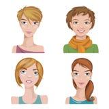 Un insieme di quattro ritratti Caratteri femminili Immagini Stock