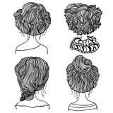 Un insieme di quattro stili di capelli illustrazione vettoriale