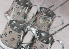 Un insieme di quattro vetri decorati Fotografia Stock Libera da Diritti