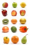 Un insieme di quindici sani e di frutta saporita Fotografia Stock Libera da Diritti