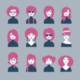 Un insieme di 12 ragazze degli avatar Fotografie Stock Libere da Diritti