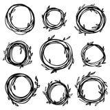 Un insieme di 9 rami disegnati a mano Fotografia Stock