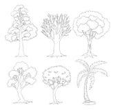 Un insieme di scarabocchio degli alberi Fotografie Stock Libere da Diritti