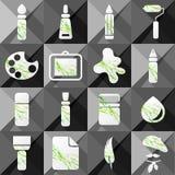 Un insieme di sedici icone di arte Fotografia Stock