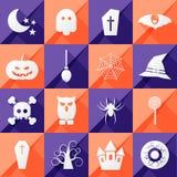 Un insieme di sedici icone di Halloween Immagini Stock Libere da Diritti