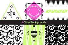 Un insieme di sei ambiti di provenienza tribali etnici di vettore Fotografie Stock Libere da Diritti