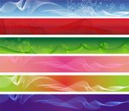 Un insieme di sei bandiere astratte di Web Fotografie Stock
