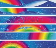 Un insieme di sei bandiere con il Rainbow Fotografie Stock Libere da Diritti