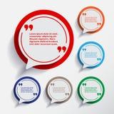 Un insieme di sei bolle di informazioni di discorso per progettazione Immagini Stock