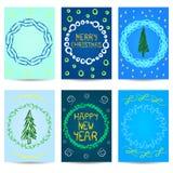Un insieme di sei cartoline di Natale Disegno di nuovo anno illustrazione vettoriale