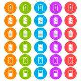 Un insieme di sei circolare, icone piane e variopinte della batteria Cinque variazioni di colore Isolato su bianco royalty illustrazione gratis