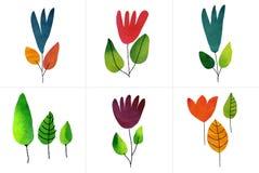 Un insieme di sei fiori di tiraggio dell'acquerello Fotografia Stock