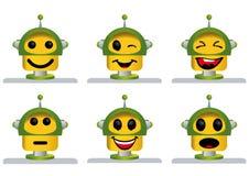 Un insieme di sei fronti gialli e verdi del robot Immagini Stock Libere da Diritti