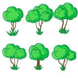 Un insieme di sei giovani alberi lisci con erba Immagini Stock Libere da Diritti