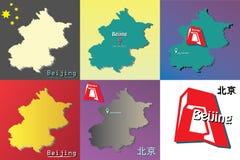 Un insieme di sei illustrazioni della mappa di Pechino-capitale della Cina - siete qui segno - stelle dalla bandiera - costruzion Fotografia Stock