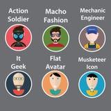 Un insieme di sei illustrazioni di vettore dell'avatar-icona: soldato di azione con la maschera antigas, uomo-modo macho, meccani Fotografia Stock