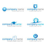 Un insieme di sei logos dentari Fotografia Stock