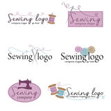 Un insieme di sei logos di cucito illustrazione vettoriale