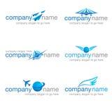 Un insieme di sei logos di viaggio e di trasporto Fotografie Stock Libere da Diritti