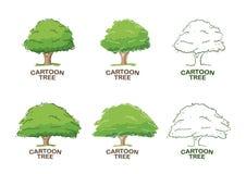 Un insieme di sei modelli per progettazione di logo con gli alberi abbozzo royalty illustrazione gratis
