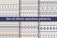 Un insieme di sei modelli senza cuciture etnici Fotografia Stock Libera da Diritti