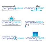 Un insieme di sei scandagliare e logos dell'acqua Immagini Stock