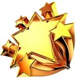 Un insieme di sei stelle lucide dell'oro nel movimento illustrazione vettoriale