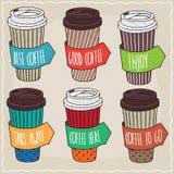 Un insieme di sei tazze di caffè di carta d'avanguardia differenti Illustrazione Vettoriale