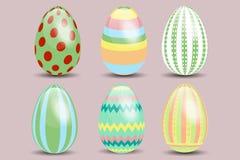 Un insieme di sei uova di Pasqua Fotografia Stock