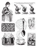 Un insieme di sette immagini del caffè di stile dell'annata royalty illustrazione gratis