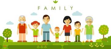 Un insieme di sette membri della famiglia che posano insieme nello stile piano Immagine Stock Libera da Diritti