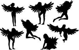 Un insieme di sette siluette di angelo Immagini Stock