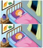 Un insieme di sonno della ragazza illustrazione vettoriale