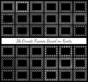 Un insieme di 36 telai rettangolari decorati basati sui vari nodi Fotografie Stock