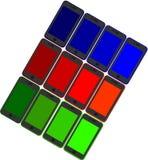 Un insieme di 12 telefoni cellulari nei colori differenti Fotografia Stock Libera da Diritti