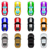 Un insieme di tre automobili in quattro colori differenti Fotografia Stock Libera da Diritti