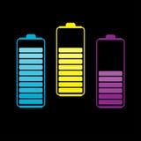 Un insieme di tre batterie variopinte. Fotografia Stock Libera da Diritti