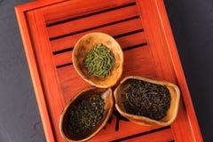 Un insieme di tre generi di tè nel chahe Fotografie Stock