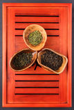 Un insieme di tre generi di tè nel chahe Fotografia Stock Libera da Diritti