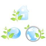 Un insieme di tre icone ambientali illustrazione di stock