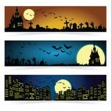 Un insieme di tre insegne di Halloween Fotografia Stock