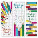Un insieme di tre insegne verticali con le matite multicolori royalty illustrazione gratis