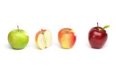 Quattro mele in una fila Fotografia Stock