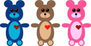 Un insieme di tre orsi dell'orsacchiotto del fumetto Fotografie Stock Libere da Diritti