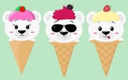 Un insieme di tre orsi polari svegli nell'immagine di un gelato royalty illustrazione gratis