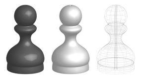 Un insieme di tre pegni di scacchi 3d royalty illustrazione gratis