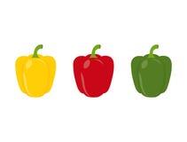 Un insieme di tre peperoni Immagini Stock