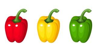 Un insieme di tre peperoni dolci. Fotografia Stock